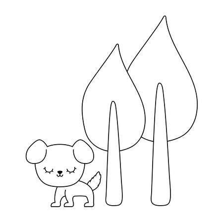 cute dog animal with trees plant vector illustration design Zdjęcie Seryjne - 122844028