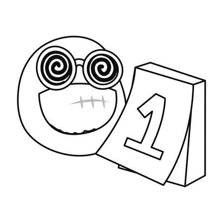 emoji face calendar april fools day vector illustration