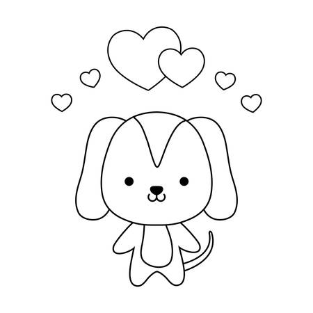 cute dog animal with hearts love vector illustration design Stock Illustratie