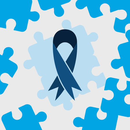 autism day campaign blue ribbon puzzles frame vector illustration