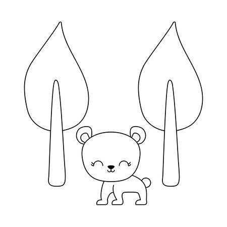 cute bear animal with trees plants vector illustration design