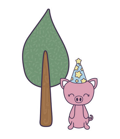 cute piggy with hat party and tree plant vector illustration design