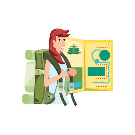 traveler woman with travel bag and map guide vector illustration designr