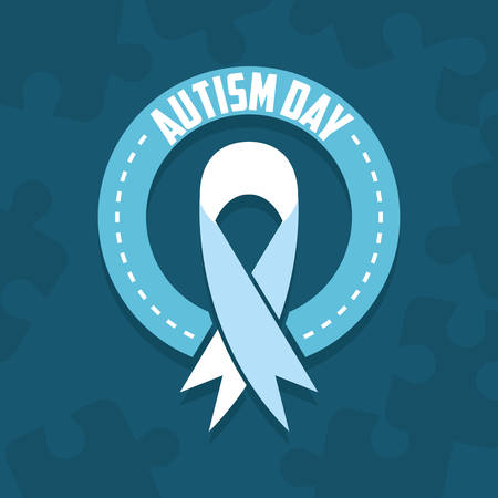 autism day campaign blue ribbon vector illustration