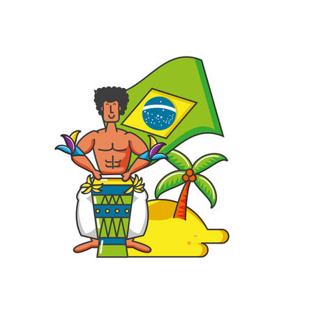 man with flag brazilian in beach vector illustration design Ilustrace
