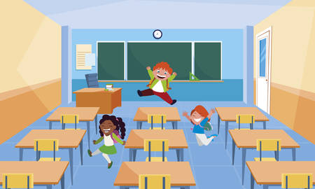 happy little interracial school kids in the classroom vector illustration design Çizim