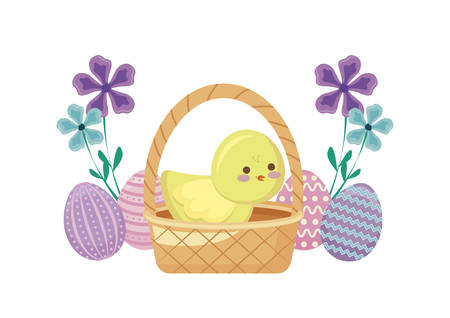 cute chicken in basket wicker with eggs of easter and flowers vector illustration design