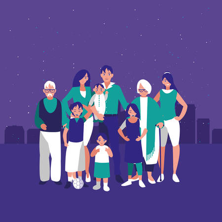 family together in the city background vector illustration 向量圖像