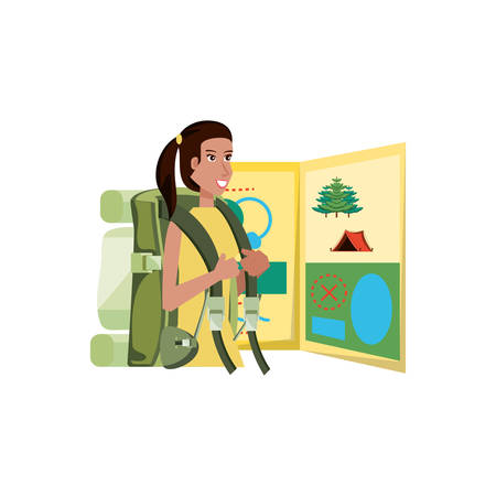 traveler woman with travel bag and map guide vector illustration design Stock Illustratie