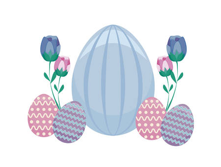 decorated eggs of easter with flowers vector illustration design