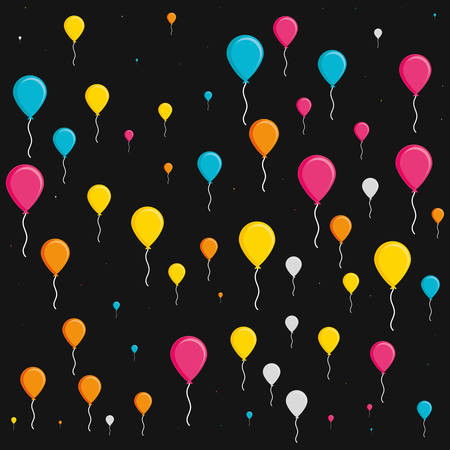 pattern of balloons helium isolated icon vector illustration design