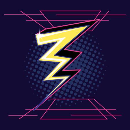 thunderbolt retro isolated icon vector illustration design