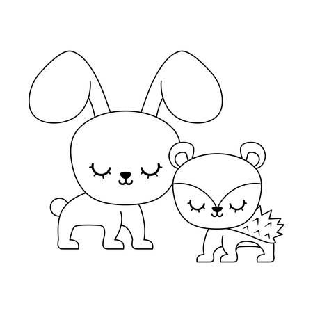 cute porcupine with rabbit animals vector illustration design Illustration