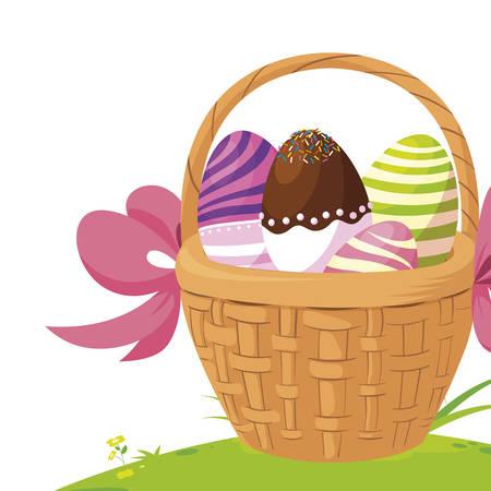 Felices huevos de pascua pintados en la cesta, diseño de ilustraciones vectoriales Ilustración de vector