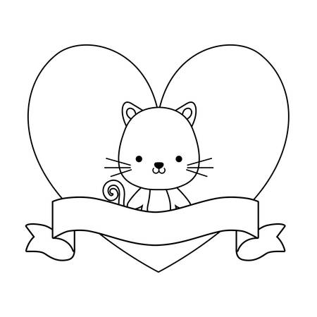 cute cat animal with ribbon in frame vector illustration design