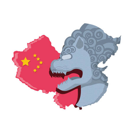 lion statue with map chinese vector illustration design