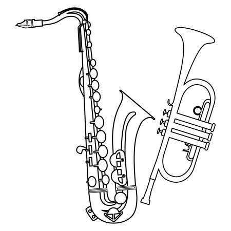 Sassofono e tromba strumenti musicali illustrazione vettoriale design