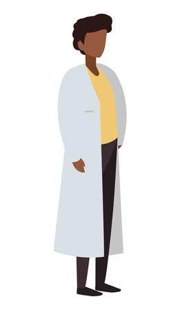 afro male medicine worker with uniform vector illustration design  イラスト・ベクター素材
