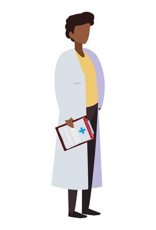 afro male medicine worker with uniform vector illustration design Illustration