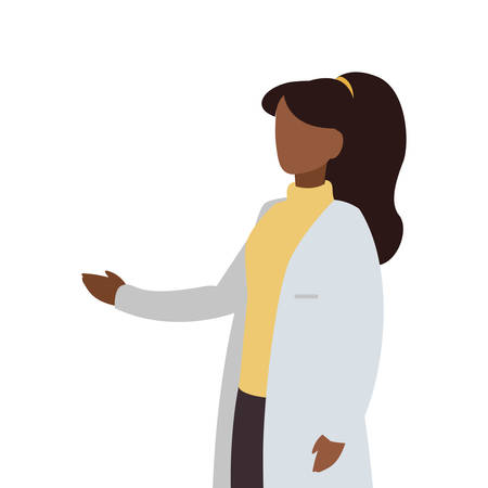 afro female medicine worker with uniform character vector illustration design