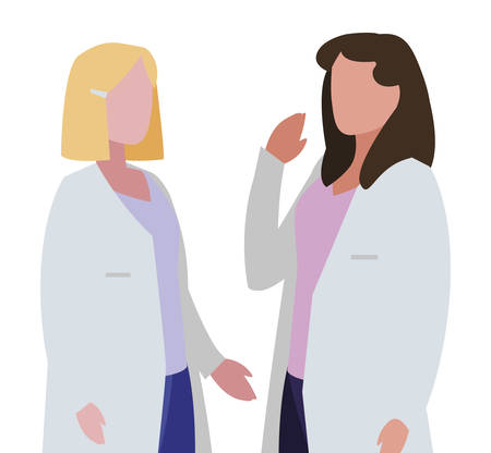female medicine workers with uniform characters vector illustration design Çizim