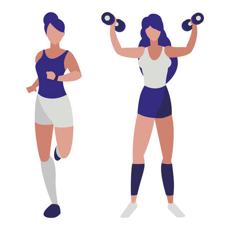 athletic women running and weight lifting vector illustration design