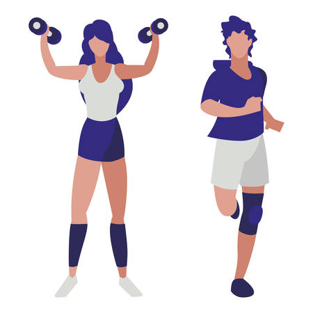 athletic man running and woman weight lifting vector illustration design  イラスト・ベクター素材