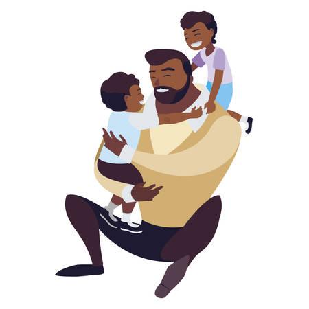 afro padre con figli caratteri illustrazione vettoriale design