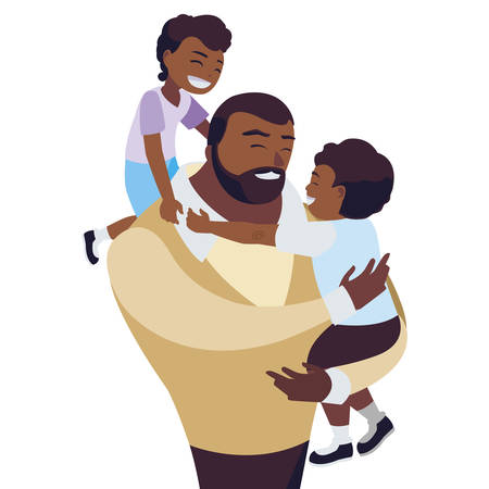 afro father with sons characters vector illustration design Ilustrace