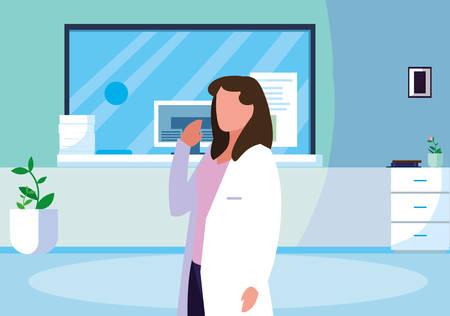 female medicine worker in clinic reception vector illustration design Illustration