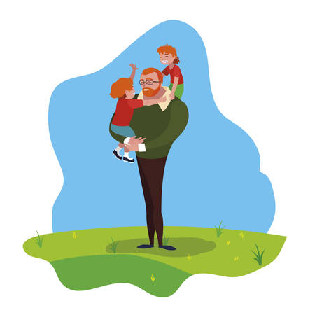 father with sons characters in the field vector illustration design Çizim