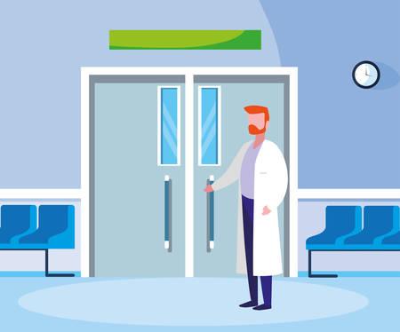 male medicine worker in entrance to the operating room vector illustration design Illustration
