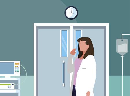 female medicine worker in operating theater vector illustration design
