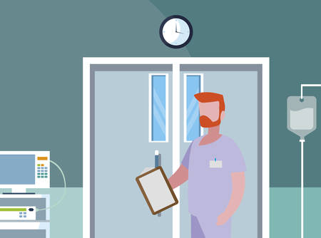 male medicine worker in the operating theater vector illustration design
