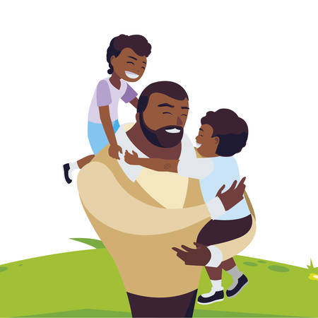 afro father with sons characters in the field vector illustration design Illustration