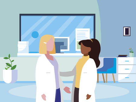 interracial female medicine workers in clinic reception vector illustration design 矢量图像
