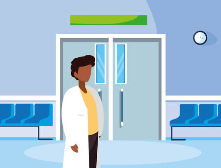 afro male medicine worker in the operating room entrance vector illustration design