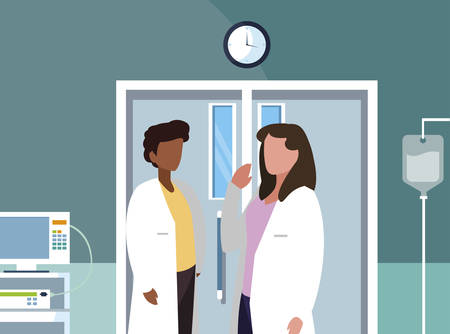 interracial couple medicine workers in operating theater vector illustration