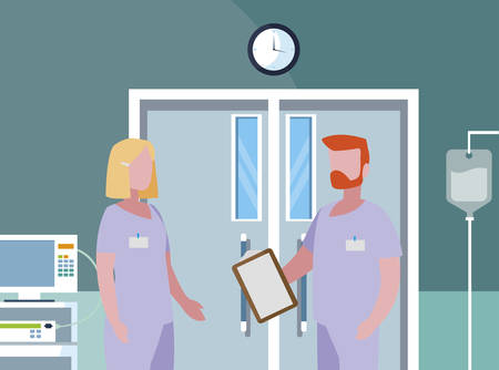 couple medicine workers in operating theater vector illustration design