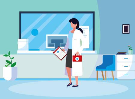 female medicine worker in clinic reception vector illustration design  イラスト・ベクター素材