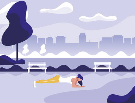 athletic woman doing push-ups in the park vector illustration design