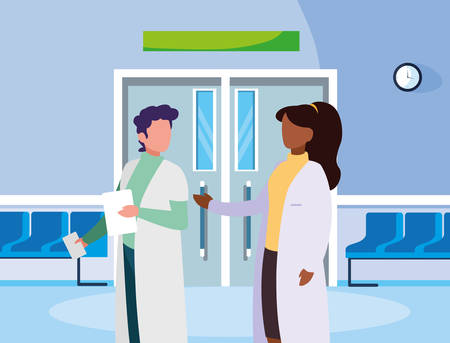 interracial couple medicine workers in the operating room entrance vector design