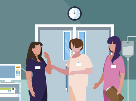 female medicine workers in operating theater vector illustration design