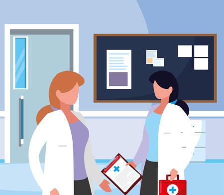 Las trabajadoras de la medicina en el pasillo del hospital, diseño de ilustraciones vectoriales