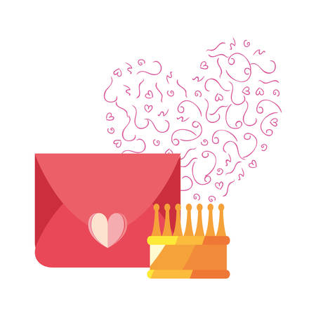 mail message love heart crown vector illustration Imagens - 122814249