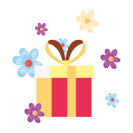 gift box flowers white background vector illustration 스톡 콘텐츠 - 122814285