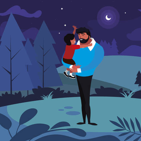 father with son in the field at night vector illustration design Иллюстрация