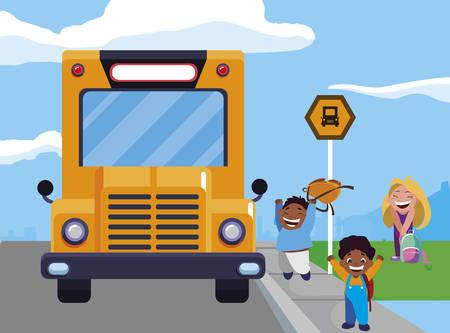 happy little interracial school kids in the bus stop vector illustration design 向量圖像