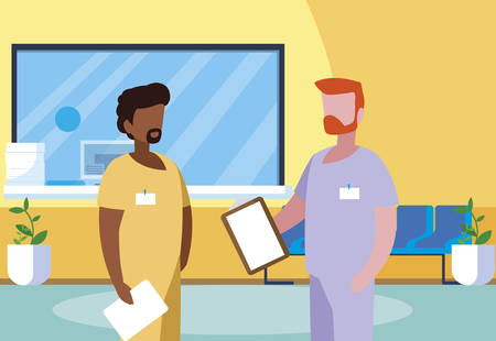 interracial male medicine workers in clinic reception vector illustration design Ilustração