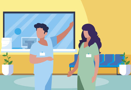 couple medicine workers in clinic reception vector illustration design